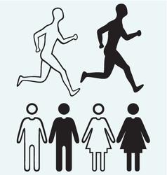 Man and woman icon Running man vector image vector image