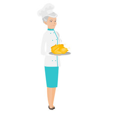 Senior caucasian chef holding roasted chicken vector