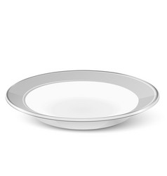 Simple classic soup plate isolated on white vector image vector image