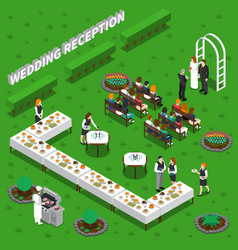wedding reception isometric composition vector image vector image