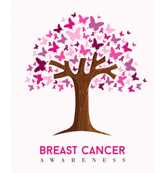 breast cancer awareness pink butterfly tree art vector image