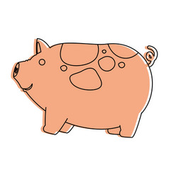 farm pig isolated icon vector image vector image