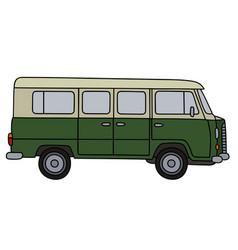 old green minivan vector image vector image