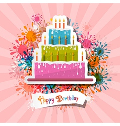Retro Pink Birthday Background with Cake vector image vector image