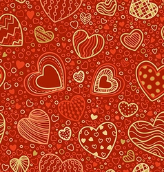 Seamless red and gold Valentines pattern vector image