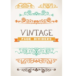 Set of vintage page dividers for your design vector image