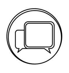 silhouette symbol square chat bubbles icon vector image