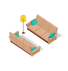 Sofa and Lamp Isometric Design vector image vector image