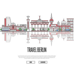 travel tour to berlin poster in linear style vector image vector image