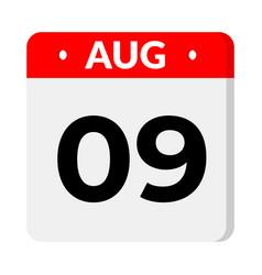 09 august calendar icon vector