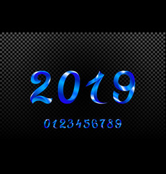2019 blue new year sign with glitter and loading vector image