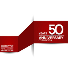50 years anniversary design with red and white vector