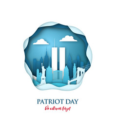 911 patriot day paper art card with twin towers vector image