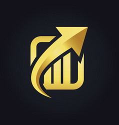 arrow up business finance gold logo vector image