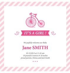 Baannouncement card it s girl vector