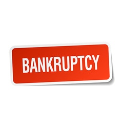 Bankruptcy red square sticker isolated on white vector