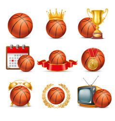 Basketball ball icon set vector