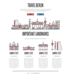 berlin travel infographics in linear style vector image