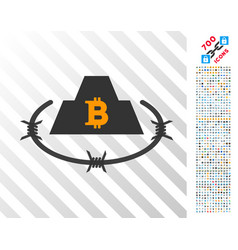 Bitcoin barbwire citadel flat icon with bonus vector