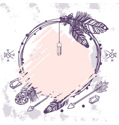 boho style wreath with feathers crystals vector image