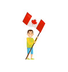 Boy holding national flag of canada design vector