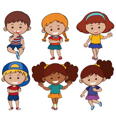 Boys and girls with happy smile vector