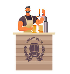 Brewery and craft beer pub bartender pouring vector