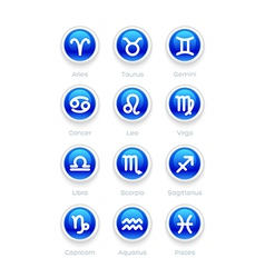 Buttons with Zodiac Symbol Icons vector image