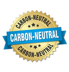 Carbon-neutral 3d gold badge with blue ribbon vector