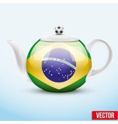 Ceramic Teapot In Brazil Soccer Style Football vector