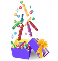 Christmas gift box of candy vector image