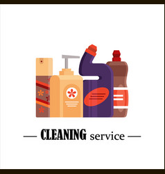 Cleaning service set house cleaning tools vector