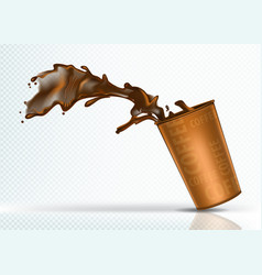 Coffee splash from falling paper glass vector