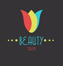 Colored tulip flower logo beauty icon vector