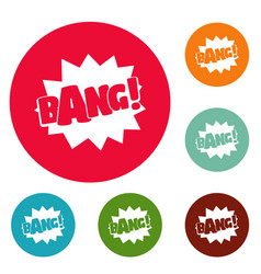 Comic boom bang icons circle set vector