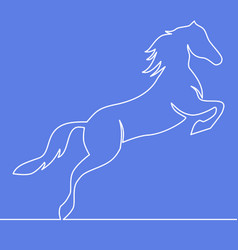 continuous one line horse logo concept vector image
