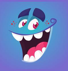 Cool cartoon monster face talking vector