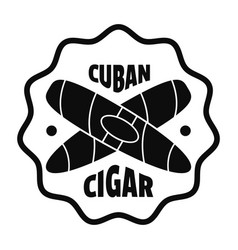 cuban cigar logo simple style vector image