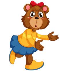 cute female bear character vector image