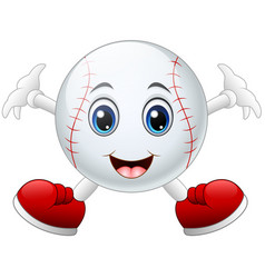 Cute happy baseball cartoon smiling vector