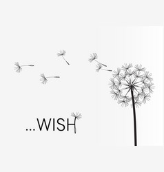 Dandelion wish simple minimalist style vector