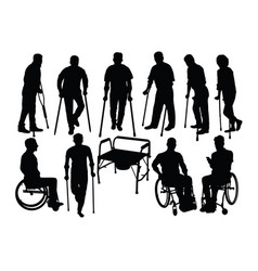 Disabled people activity silhouettes vector