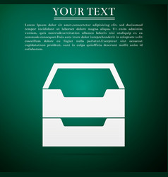 Document inbox flat icon on green background vector