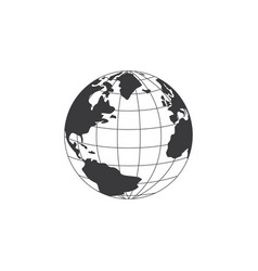 earth globe black and white symbol or icon vector image