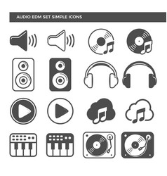 Electronic dance music audio set icons vector