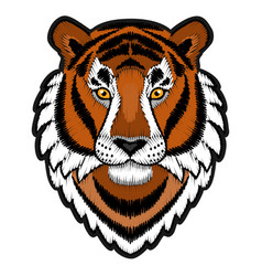 Embroidery tiger head patch vector