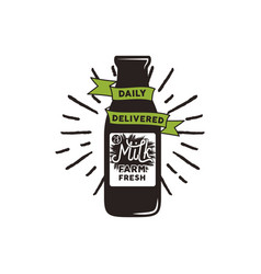 farm fresh milk bottle with green ribbon vector image
