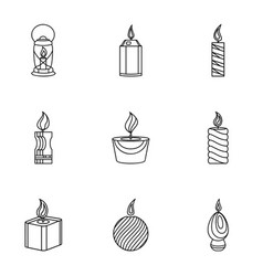 Fire radiance icons set outline style vector