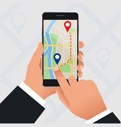 flat gps navigation in phone with a red and vector image