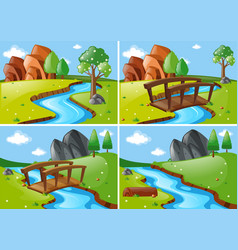 four scenes with river run through park vector image
